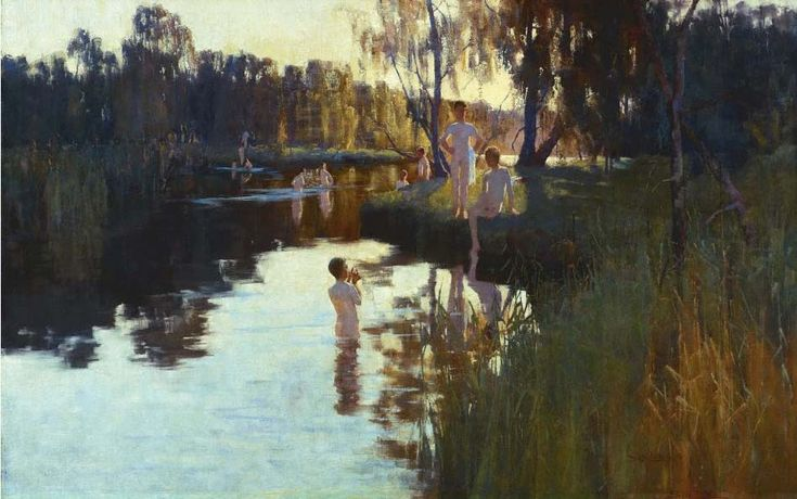 Throughout the nineteenth century, the Cooks River was popular with swimmers; Sydney Long's painting, By Tranquil Waters, 1894, records the scene at its junction with Wolli Creek.