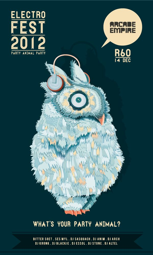 Electronic music festival Posters by Louwrens Venter, via Behance