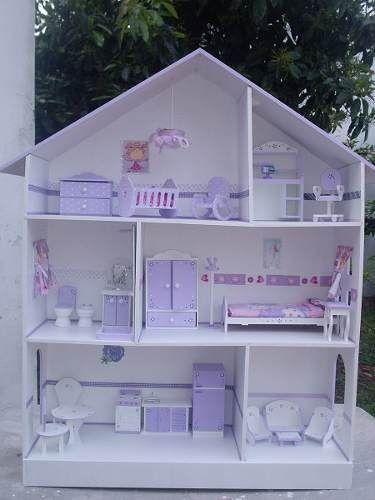 Casita De Muñecas Barbie 3 Pisos 1,25 M C/muebles Y Luz!!!
