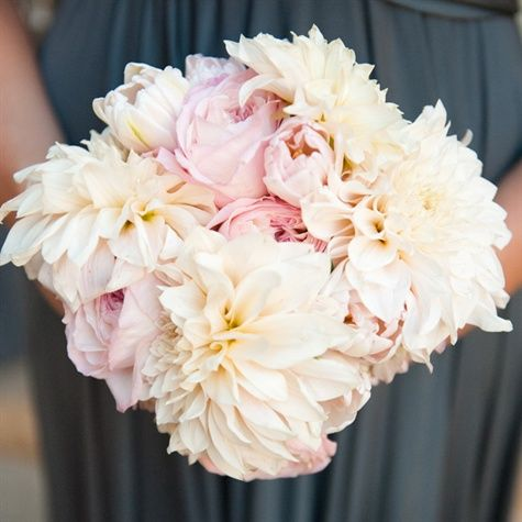 Pink and White Dahlia Bridesmaid Bouquet. Peonies instead of roses.