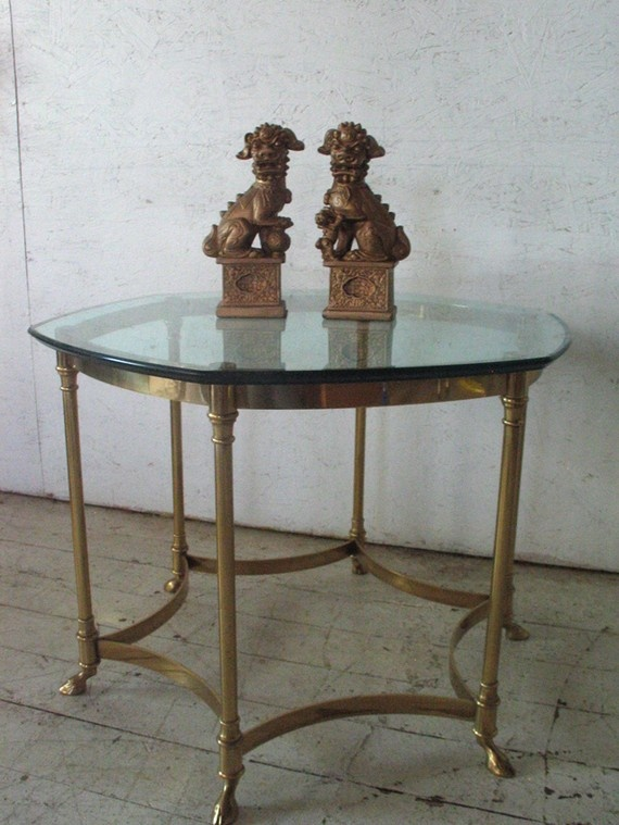 Awesome Vintage LaBarge Brass Glass Rams Hoof Coffee Table Mid Century Modern ,  Hollywood Regency