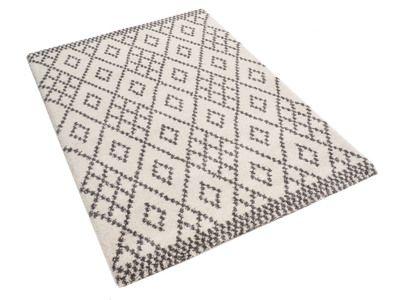 Tapis 100% polypropylène effet laine motif losange mosaïque beige et gris ELLYAN