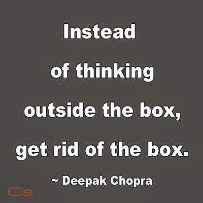 Instead of thinking outside the box #quote  Pinned by Penina  Penina Rybak MA/CCC-SLP, TSHH  CEO Socially Speaking LLC  Twitter:@PopGoesPenina  www.SociallySpeakingLLC.com
