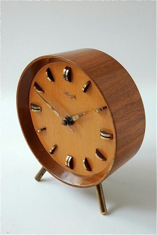 Mid century teak mantle alarm clock | Repinned by 360 Modern Furniture