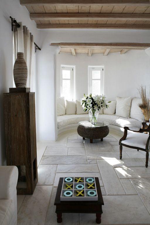 stone house living area - Greece