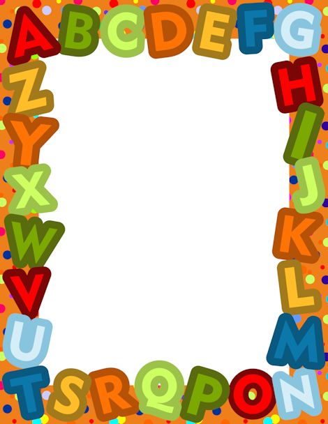 A border made from the letters of the alphabet in a varied color scheme. Free downloads at http://pageborders.org/download/alphabet-border/