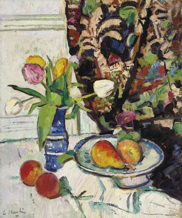 Still life with tulips and fruit,  George Leslie Hunter.  Scottish (1877 - 1931)
