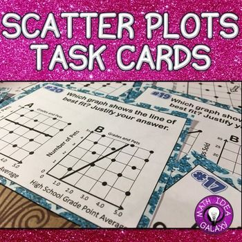 Scatter Plot and Line of Best Fit Task Cards is an engaging activity for students to practice in a variety of ways. These task cards can be used as a game, a center or station, a whole class activity, independent work, or partner practice for concepts related to scatter plots and line of best fit. Includes: 24 self-checking task cards, Student record sheet, Answer Key. 8.SP.A.1