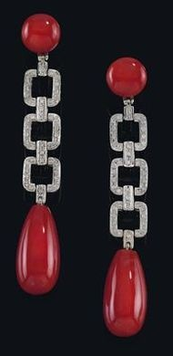 A pair of brilliant and coral ear pendants, Custom Make vintage jewelry on Morpheus! www.morphe.us.com