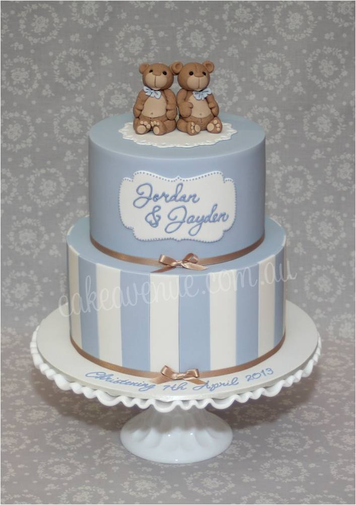 Teddy Bear Cake with dusty blue and white fondant stripes and hand modelled teddy bears.