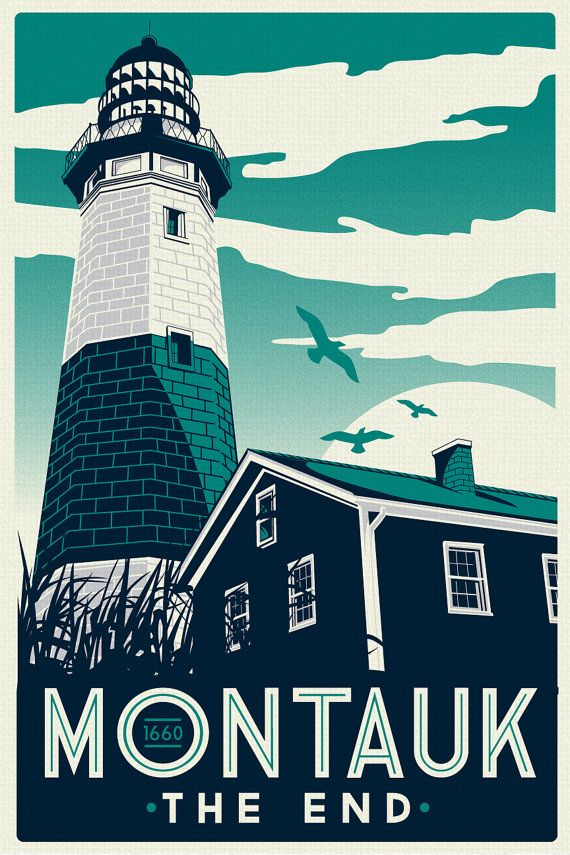 """this is 100% original artwork Montauk Light House Retro Vintage beach Screen Print poster cool colors new york  hand screen printed 3 color design.  ARTWORK SIZE IS 12""""X18""""  PRINTED ON VANILLA HEAVY COLD PRESSED ARTBOARD (VERY THICK)  limited run of 50 $24.99"""