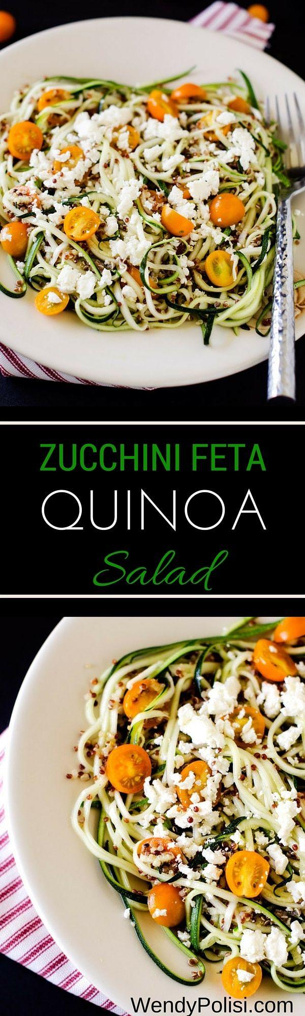 Zucchini Feta Quinoa Salad with Lemon Dill Dressing via @wendypolisi
