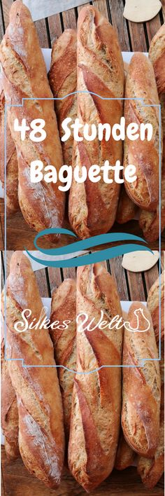 Mein 48 Stunden Baguette stammt ursprünglich vom Brotdoc. Ich habe es ein bisschen angepasst und bin so begeistert. Schaut Euch das Rezept an und auch die Videoanleitung zum falten und formen von Baguettes. Viel Spaß auf rezepte-silkeswelt.de #baguette #backen #baguettes