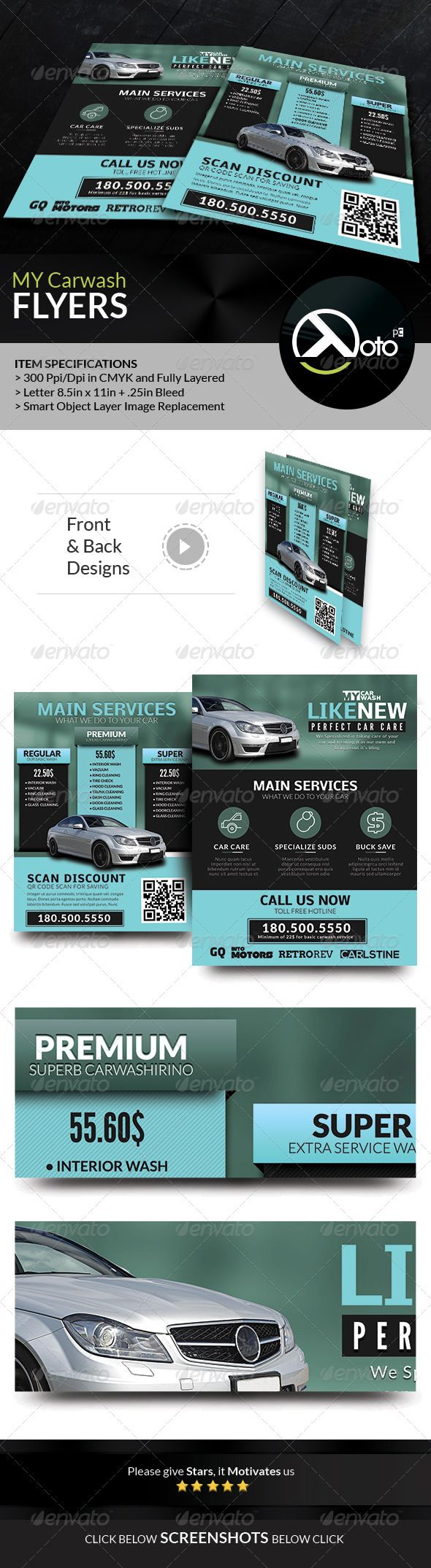 MY Automobile Carwash Service Flyers