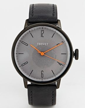 Enlarge Tsovet Black Leather Strap Watch