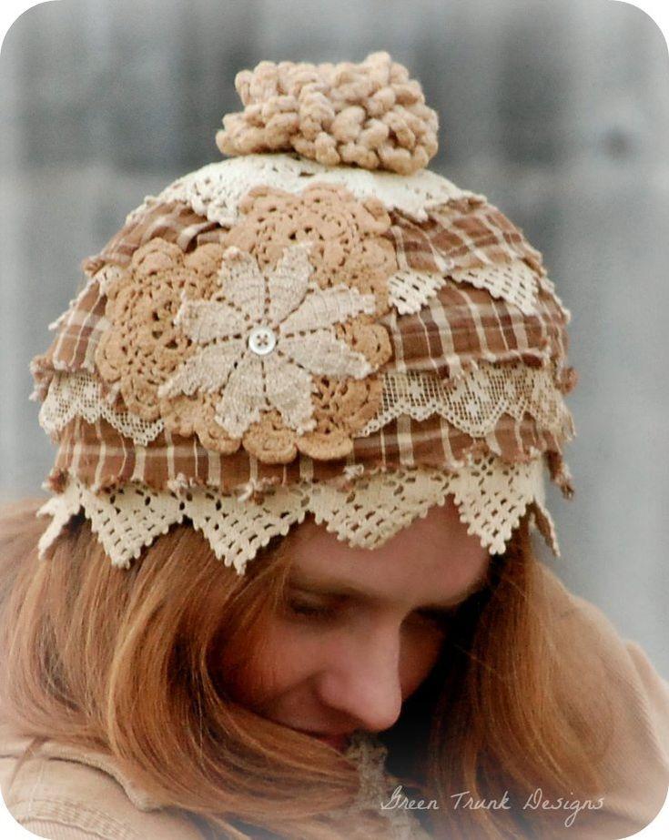 Autumn Beanie Hat Patchwork Lace Fall Fashion por GreenTrunkDesigns