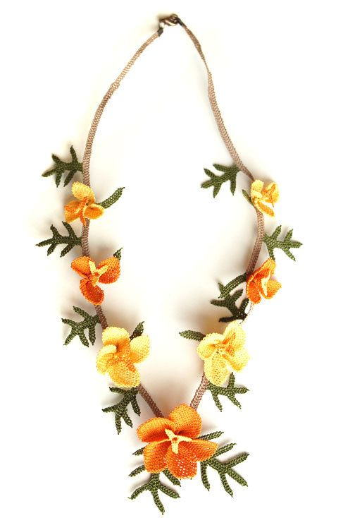 Silk igne oya necklace  orange & yellow by MiSTANBULcom on Etsy, $60.00