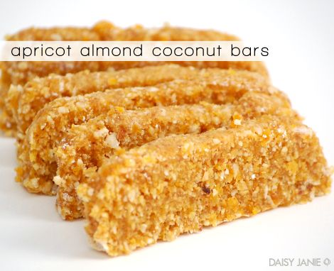apricot almond coconut bars. gluten-free, no added sweetners. delish!