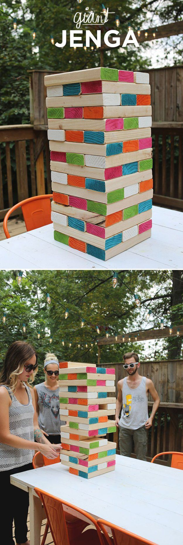 Fun and Easy DIY Outdoor Family Game Crafts | Giant Jenga by DIY Ready at http://diyready.com/15-diy-outdoor-family-games/