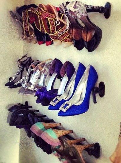 Using Curtain Rods as shoe racks!! COOL IDEA!!!