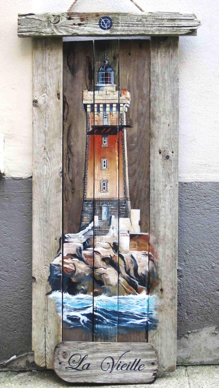 Phare la vieille finistere acrylique bois bois flott for Peindre du bois flotte