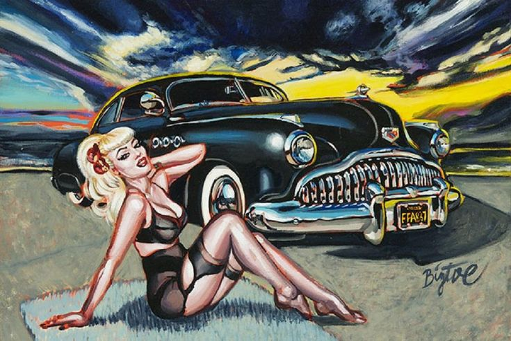 Black Magic by Big Toe Classic Car & Sexy Pin-Up Woman Fine Art Print