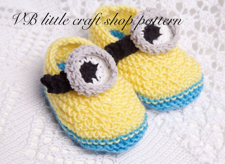 Minion booties knitting/crochet pattern. Instant PDF download Patterns, Min...