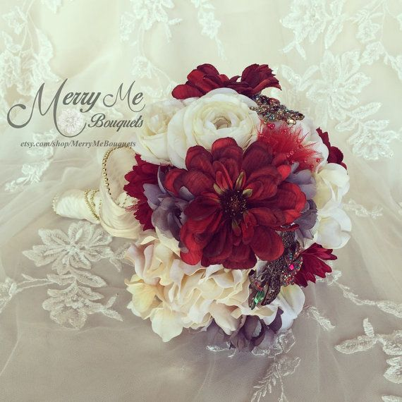 Burgundy Bouquet Burgundy and Gray Bouquet by MerryMeBouquets
