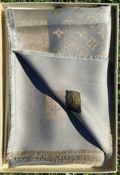 Louis Vuitton LOUIS VUITTON Monogram Shine Lurex Shawl Grey Gold