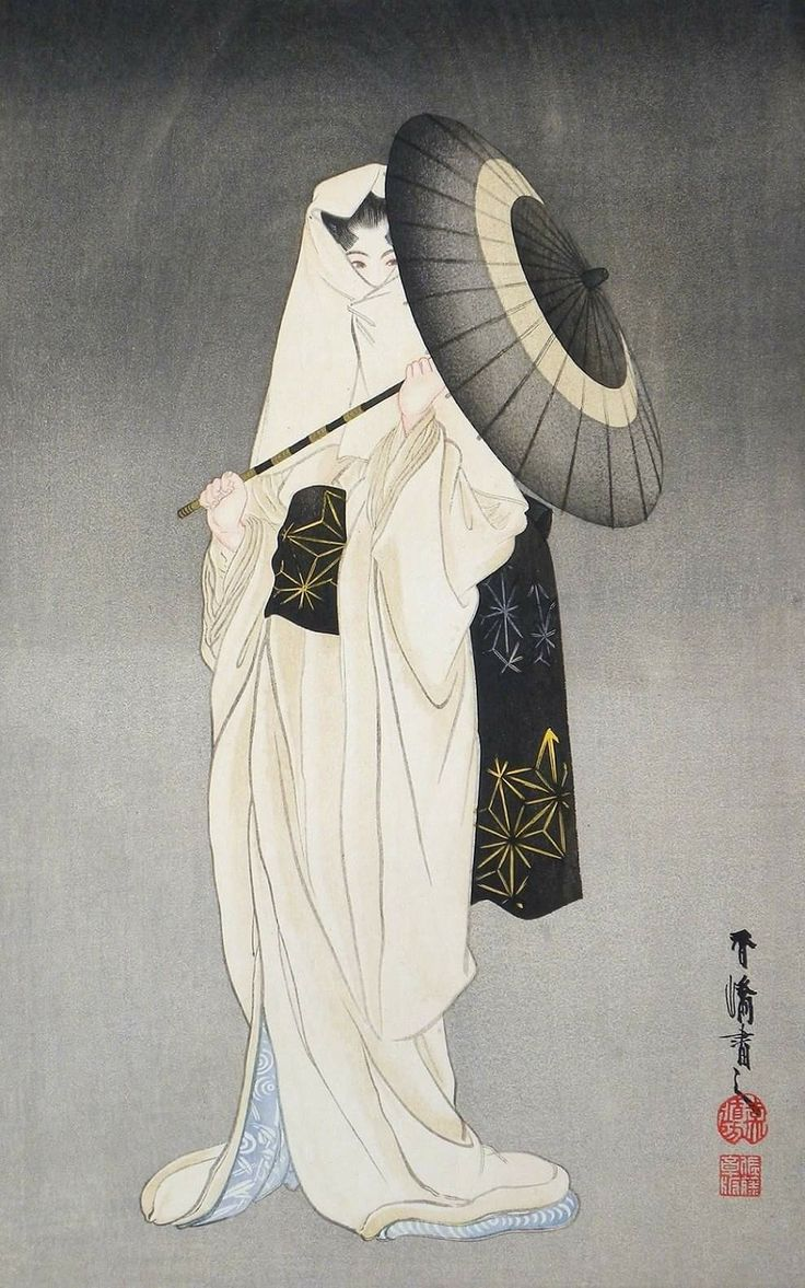 Taniguchi Kokyo (1864-1915): Heron Maiden, woodblock print, ca. 1910s