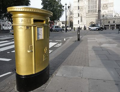 Gold post boxes celebrate Olympic Gold victories