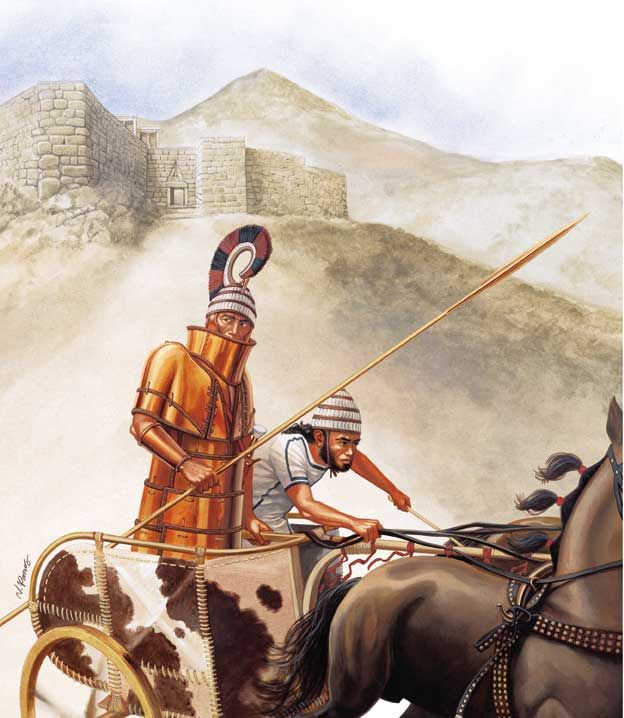 A bronze age period war chariot departs from the Achaean citadel of Mycenae in Greece. c.1400 BC.