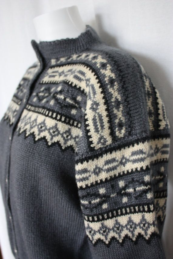 Hand knit Norwegian cardigan pewter and cream by PitzicatVintage