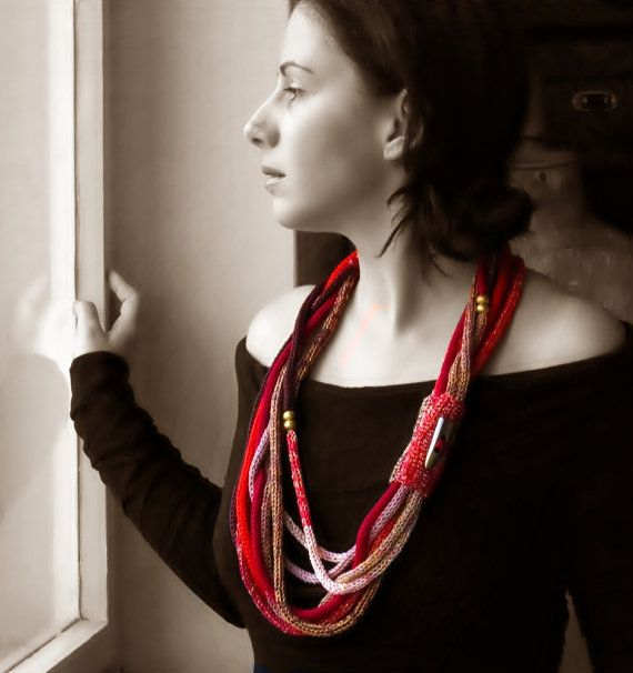 long knitted necklace / scarf necklace / statement by EvaSinai