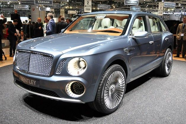 Bentley EXP 9 concept SUV live at Geneva Motor Show unveiling in 2012.  Seen as a key part of Bentley's plan to expand its sales volumes, the SUV is expected to arrive within three years under V8 and possibly W12 power, just like the brand's volume Continental GT range. Said to start at a cost of some 200,000 euros – over $270,000 US