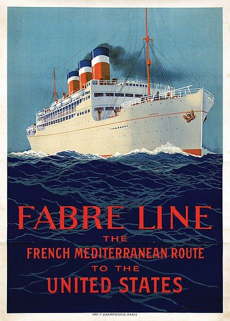 "Fabre Line - The French Mediterranean Route to the United States - paquebot ""Patria"" ? - illustration de Sandy Hook (Georges Taboureau) -"