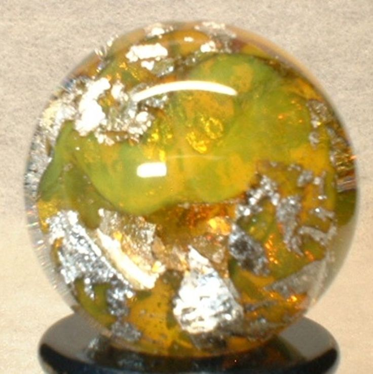 """WILLIS MARBLES - 13/16"""" YELLOW TRANS FOIL MARBLE - HANDMADE ART GLASS MARBLE 