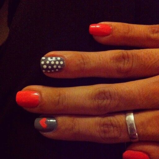 Nails, nail art heart and polka dot orange and grey