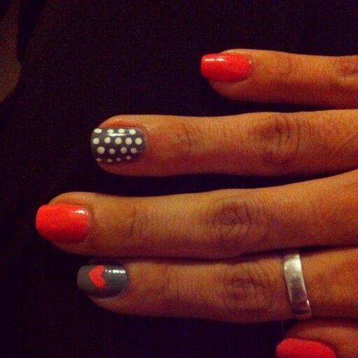 Nails, nail art heart and polka dot orange and grey
