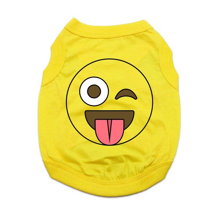 Winking and Tongue Out Emoji Dog Shirt - Yellow at BaxterBoo.com