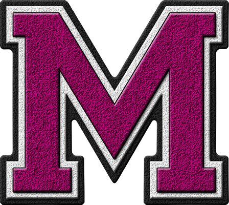 Presentation Alphabets: Magenta Varsity Letter M