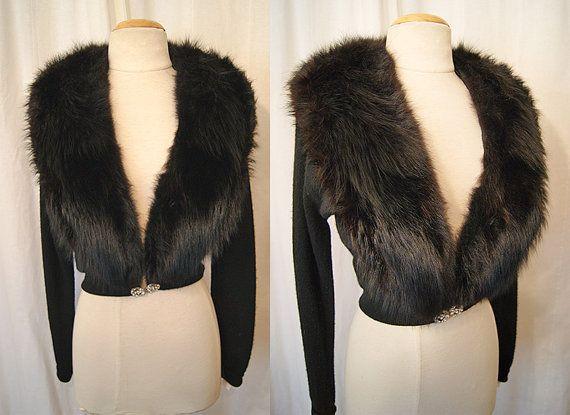 Glamorous 1950's black cashmere cardigan sweater by wearitagain, $198.00