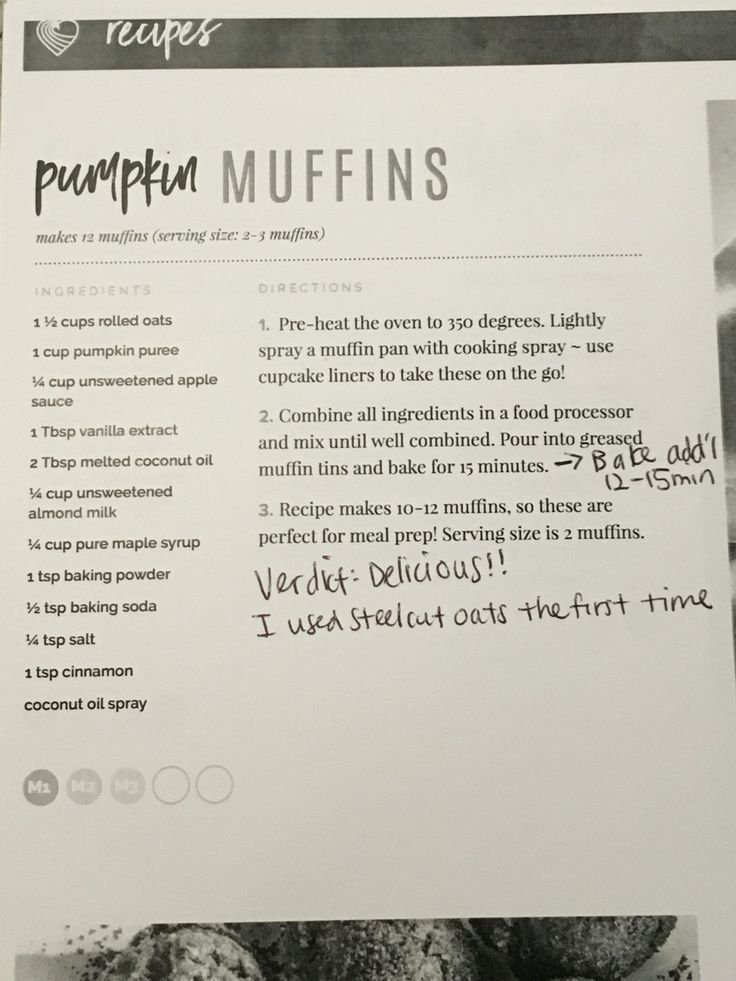 Tone It Up Pumpkin Muffins- makes 10 muffins, 138 cals each. Delicious! Can add protein powder if you'd like but may need to adjust liquid amount then.