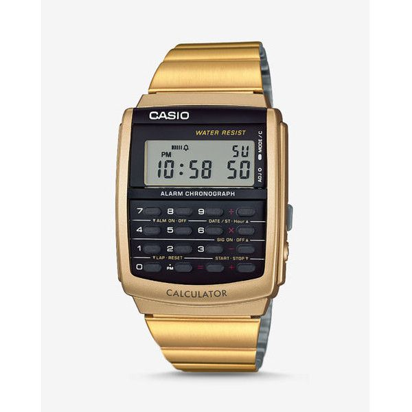 Express Vintage Casio Gold Calculator Watch ($60) ❤ liked on Polyvore featuring men's fashion, men's jewelry, men's watches, gold, mens digital watch, mens watches, mens digital sports watches, mens digital watches and mens sports watches