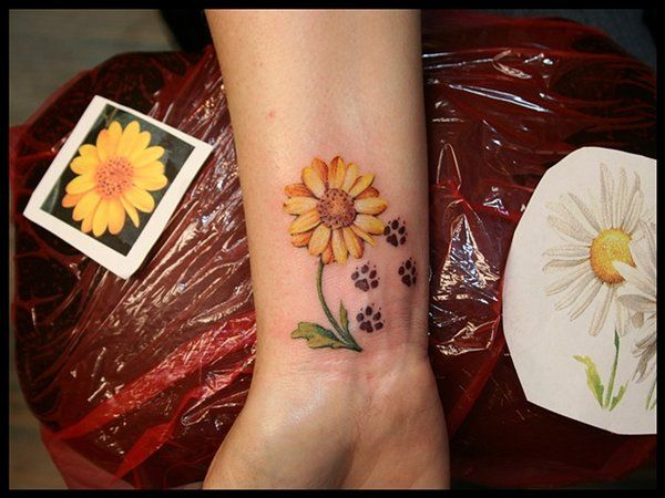 Sunflower and Puppy Paw Print Tattoo