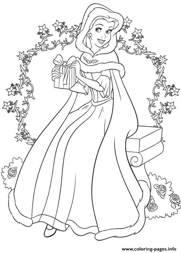 Coloring Pages Info Princess Belle Christmas Printable Coloring