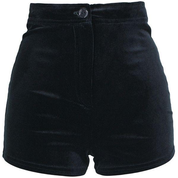 Black Velour Shorts, Velour High Waisted, Velour Hot Pants, Black... ($16) ❤ liked on Polyvore