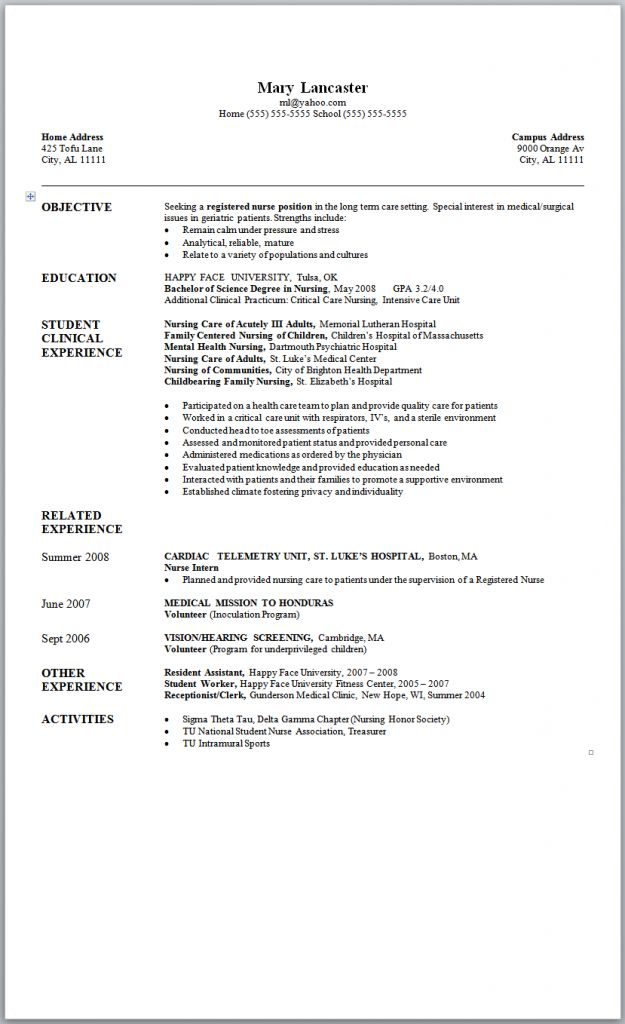 sample nursing resume new graduate nurse nursing and professional