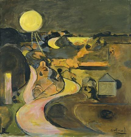 Road at Porthclais with Setting Sun (1975) by Graham Sutherland: