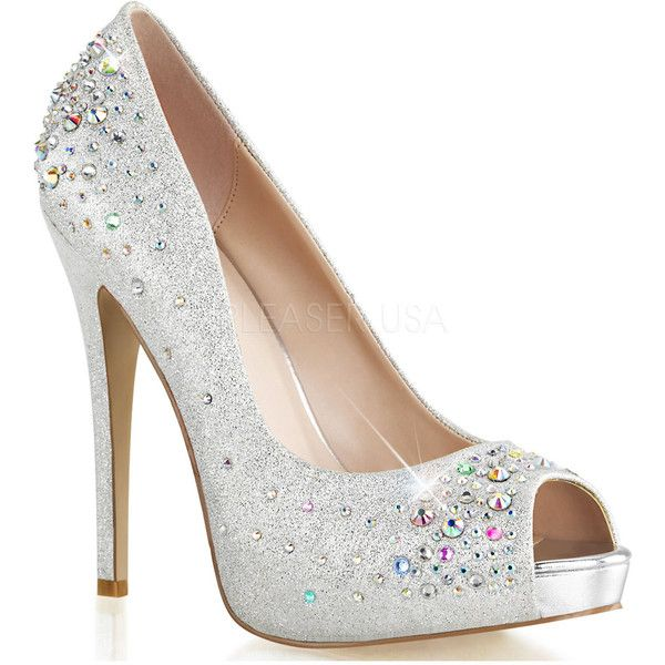 Silver Rhinestone Peep Toe Heiress Heels ($31) ❤ liked on Polyvore featuring shoes, pumps, heels, silver heel pumps, peep-toe pumps, silver shoes, silver high heel shoes and silver sparkle pumps